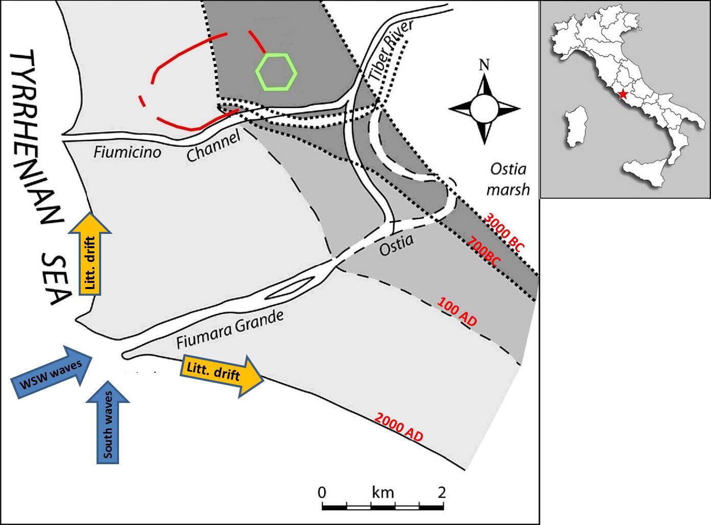 Coastal morphodynamics near Portus (Bellotti 2000)