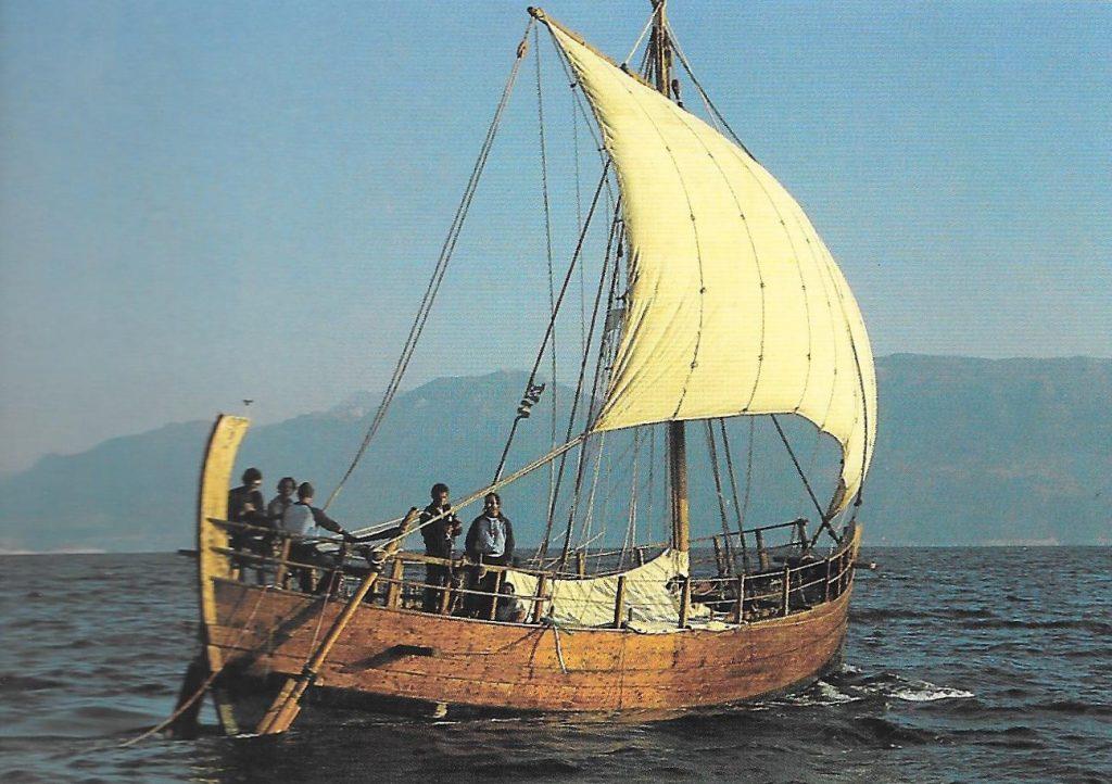 Kyrenia II sailing at close reach on the Egean Sea in 1986.