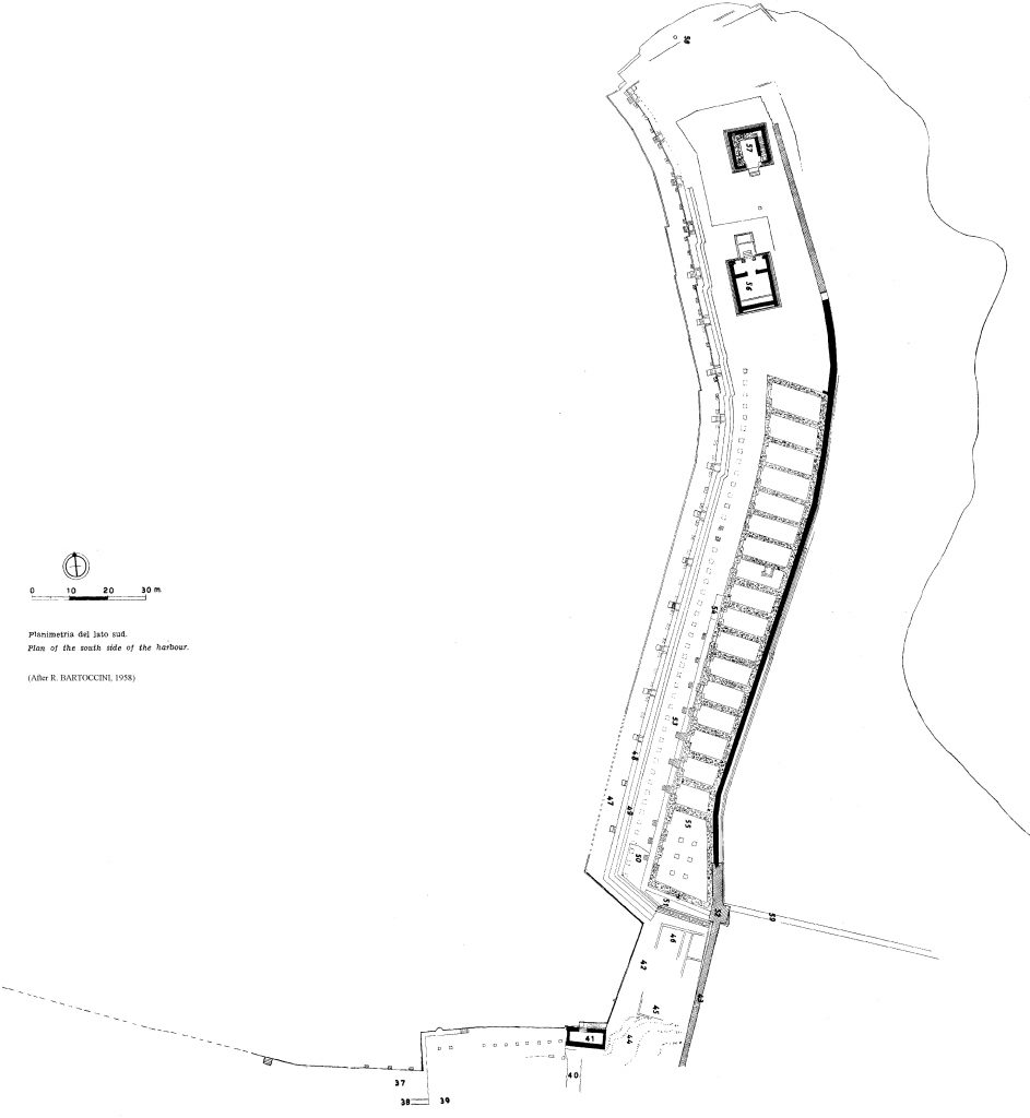 Bartoccini's map of the East quay of the port of Leptis Magna (1958)