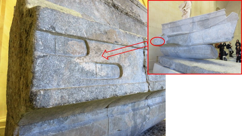 Pedestal of Samothrace Victory (photo: A. de Graauw at Louvre Mus. 2016)