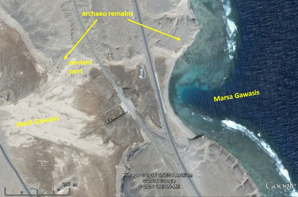 Archaeological remains and location of the ancient port about 300 m from the present coastline. The wadi outlet was filled with sediment provided by the wadi.